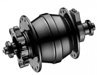 Dynamo disc hub with ind. ball bearings