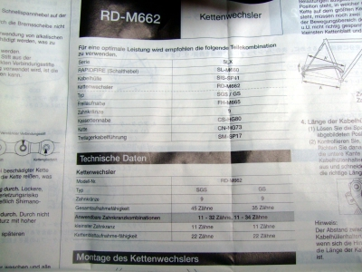 Schaltwerk Shimano SLX 9-fach (RD-M662SGS)